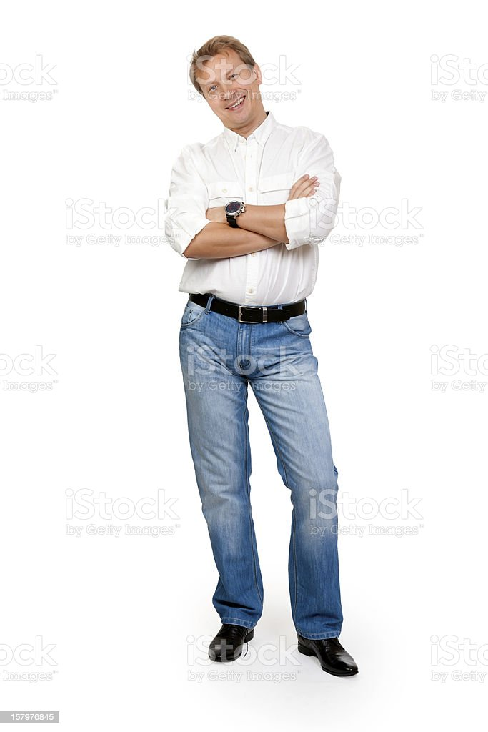 portrait of the man in full-length studio stock photo