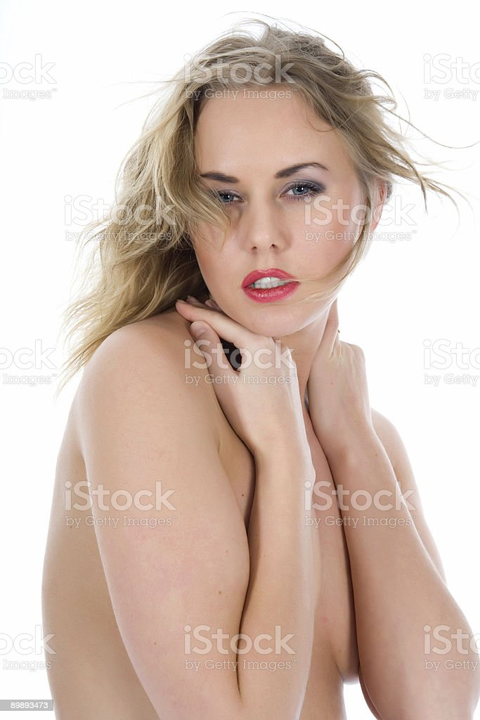 portrait of the nude blonde with blue eyes royalty-free stock photo