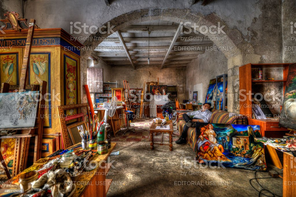 Portrait of The Painter Paolo Morando, Siracusa in Sicily stock photo
