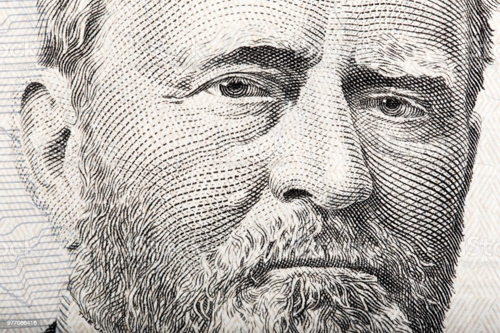 Portrait of the President Ulysses S. Grant close up from 50 doll stock photo