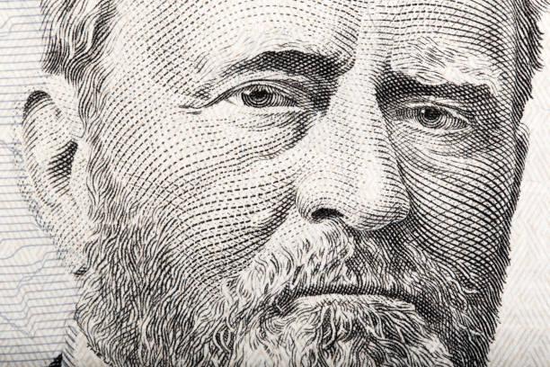 portrait du s. du président ulysses grant bouchent de 50 doll - gravure à photos et images de collection