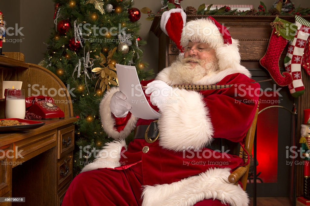 Portrait of the Real Santa Claus writing a letter stock photo