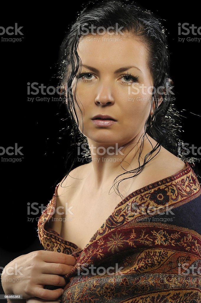 Portrait of the Russian attractive woman with a shawl royalty-free stock photo