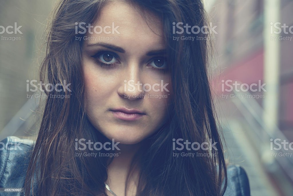 portrait of the serious beautiful girl outdoor royalty-free stock photo