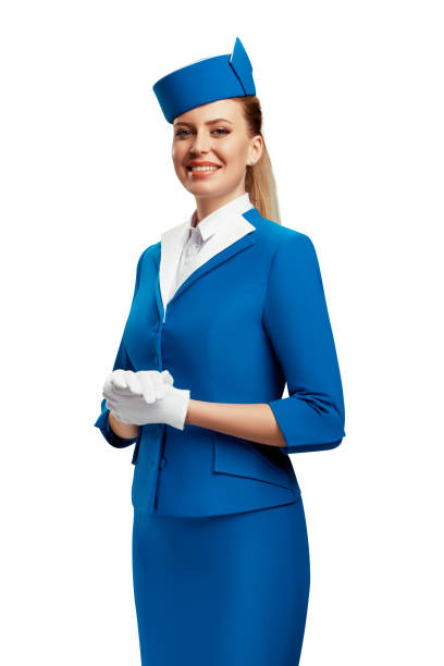 Portrait of the stewardess. Portrait of the stewardess. White background. air stewardess stock pictures, royalty-free photos & images