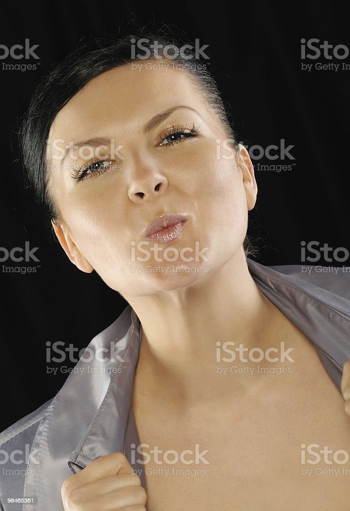 Portrait of the woman on a black background royalty-free stock photo