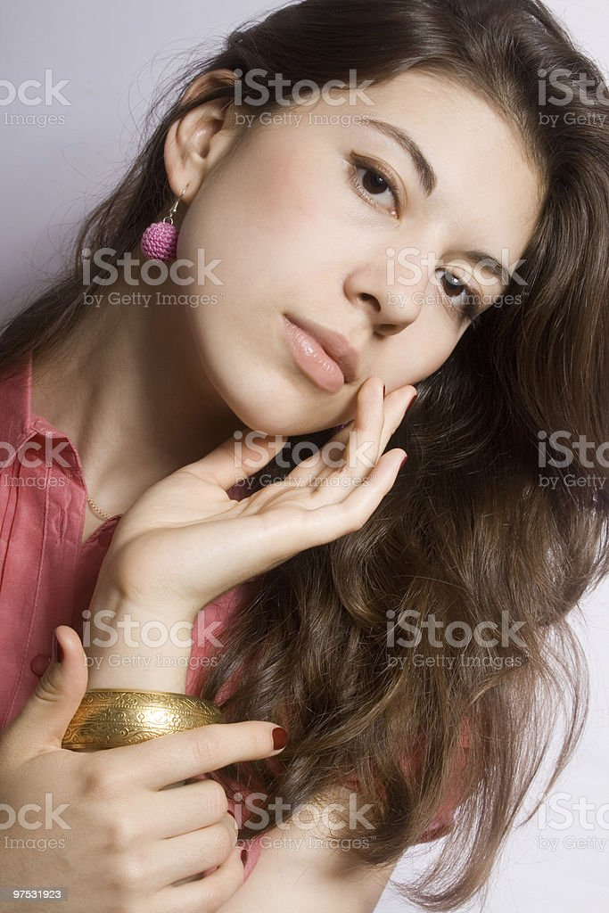 Portrait of the young brunette royalty-free stock photo