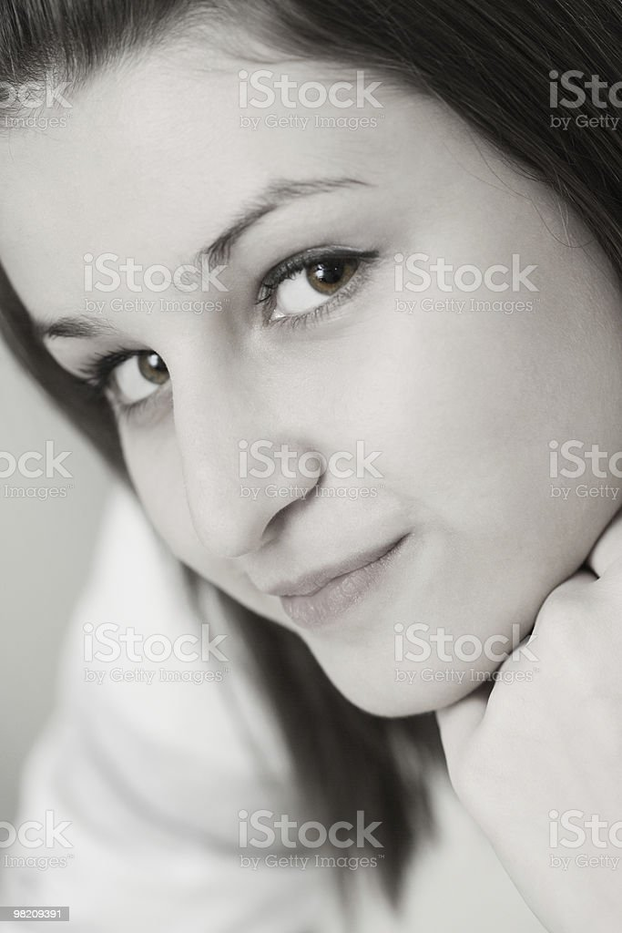 Portrait of the young girl. Black and white royalty-free stock photo