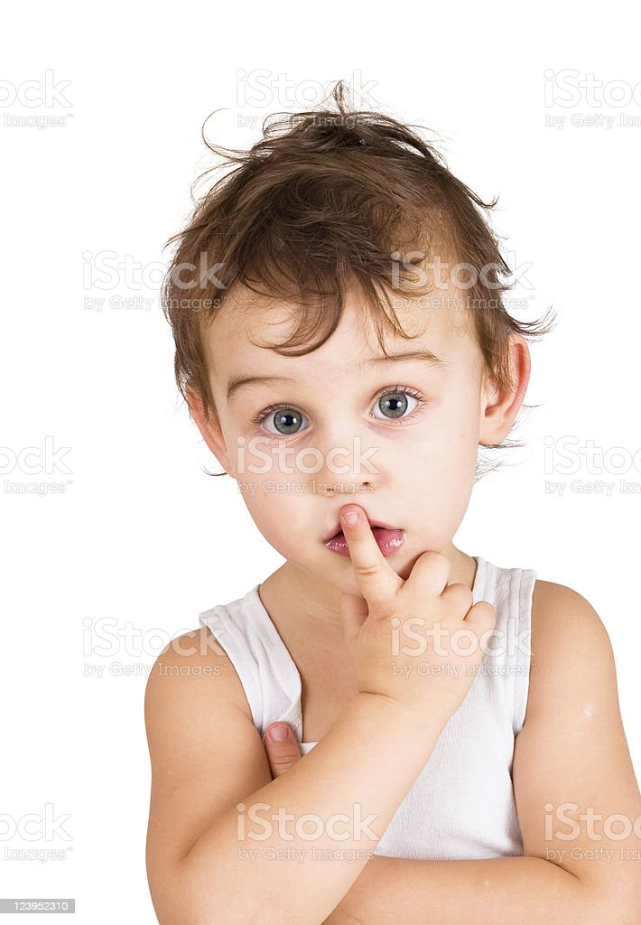 portrait of thinking boy royalty-free stock photo