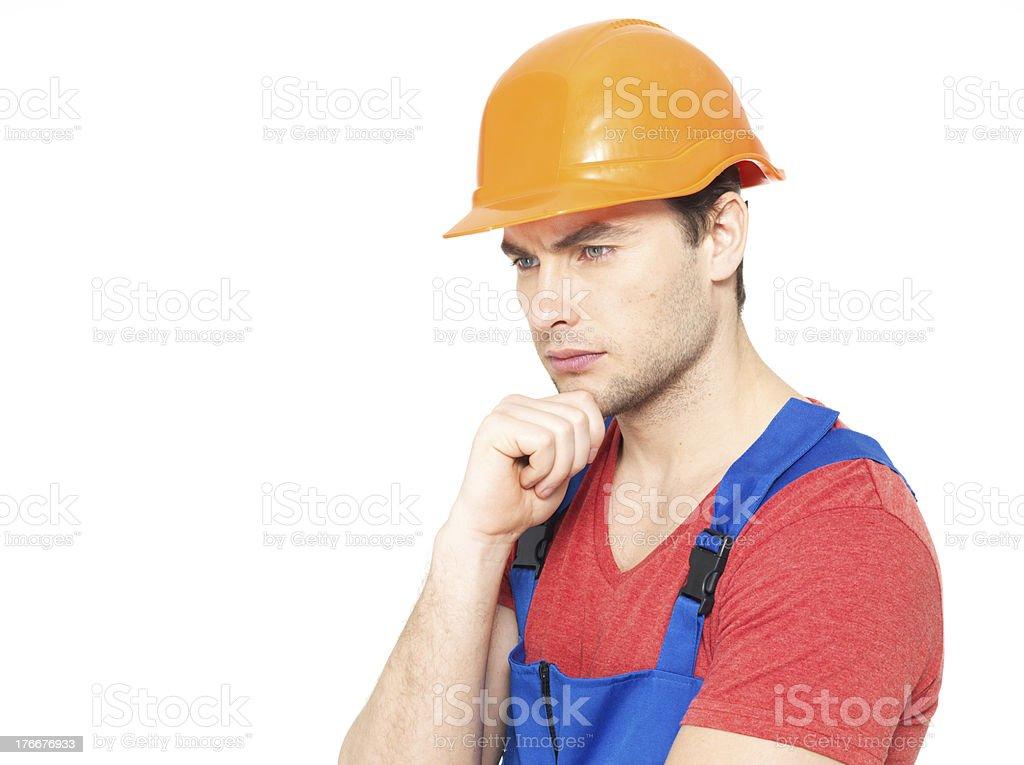Retrato de pensar manitas en uniforme foto de stock libre de derechos