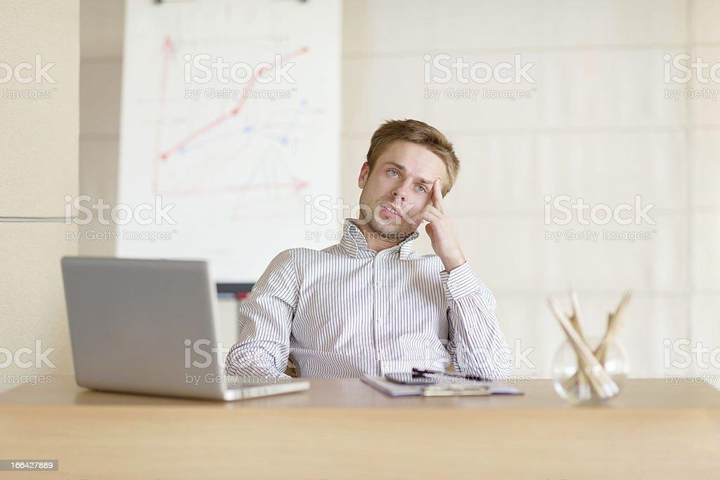 Portrait of thoughtful businessman stock photo
