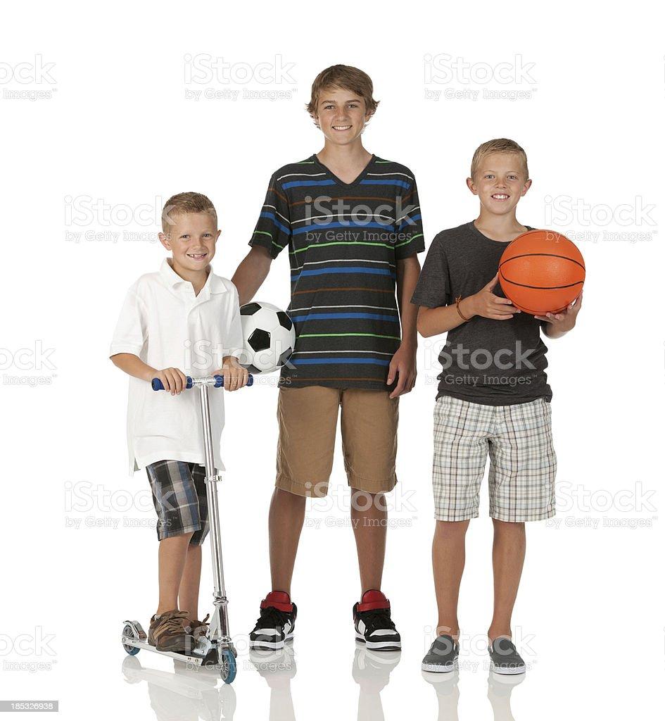 Portrait of three boys smiling stock photo