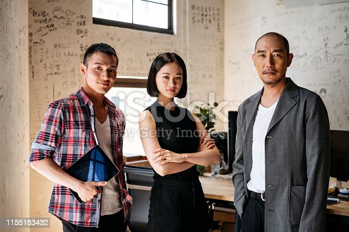 Chinese businessmen and woman at work looking at camera, management, freelancing, teamwork