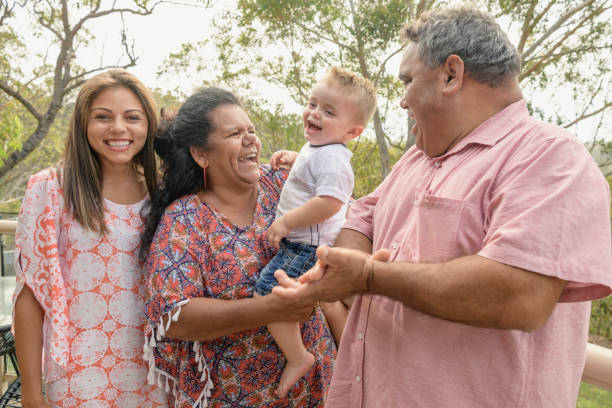 Portrait of three generation Aboriginal family stock photo
