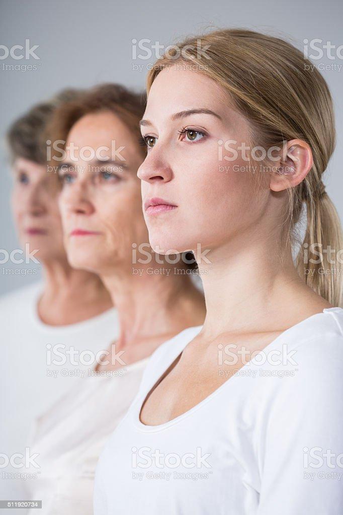 Portrait of three generations family stock photo