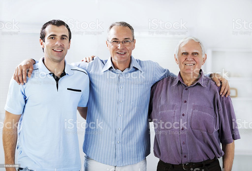 Portrait of three generations male royalty-free stock photo