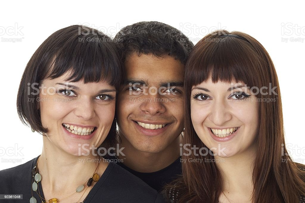 Portrait of three happy friends royalty-free stock photo