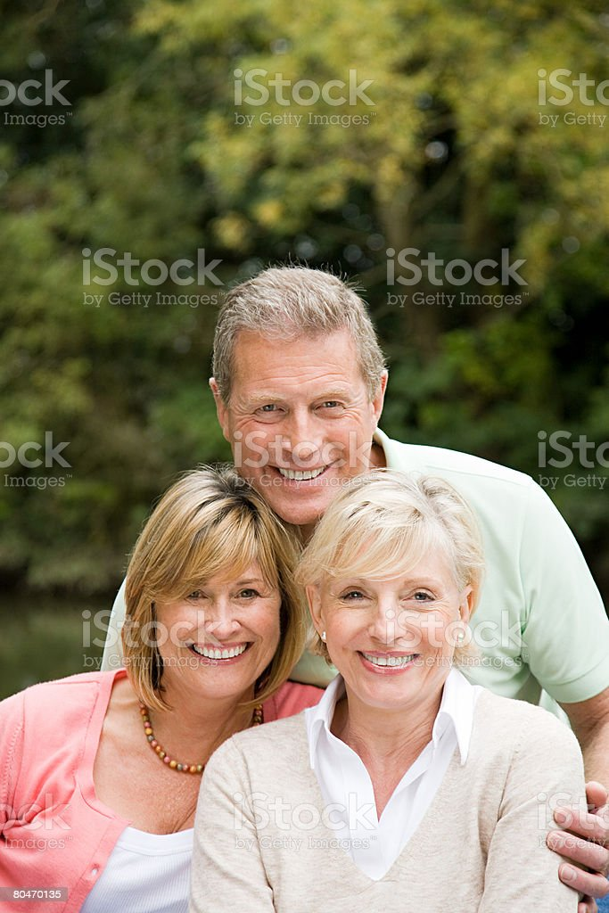 Portrait of three mature friends royalty-free stock photo