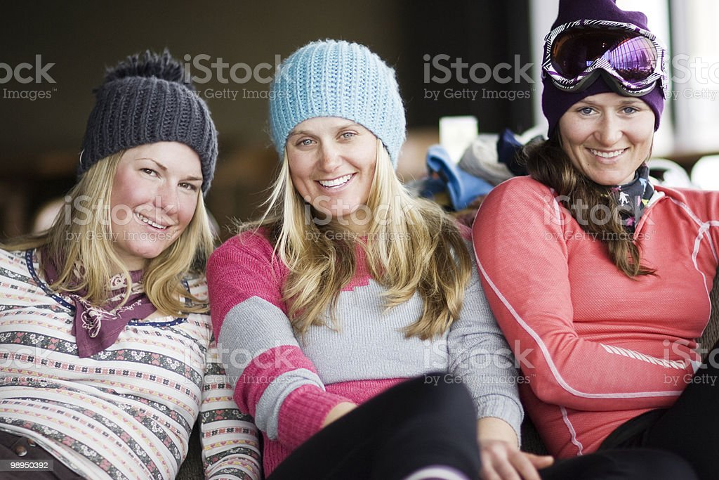 Portrait of three skiers. royalty-free stock photo