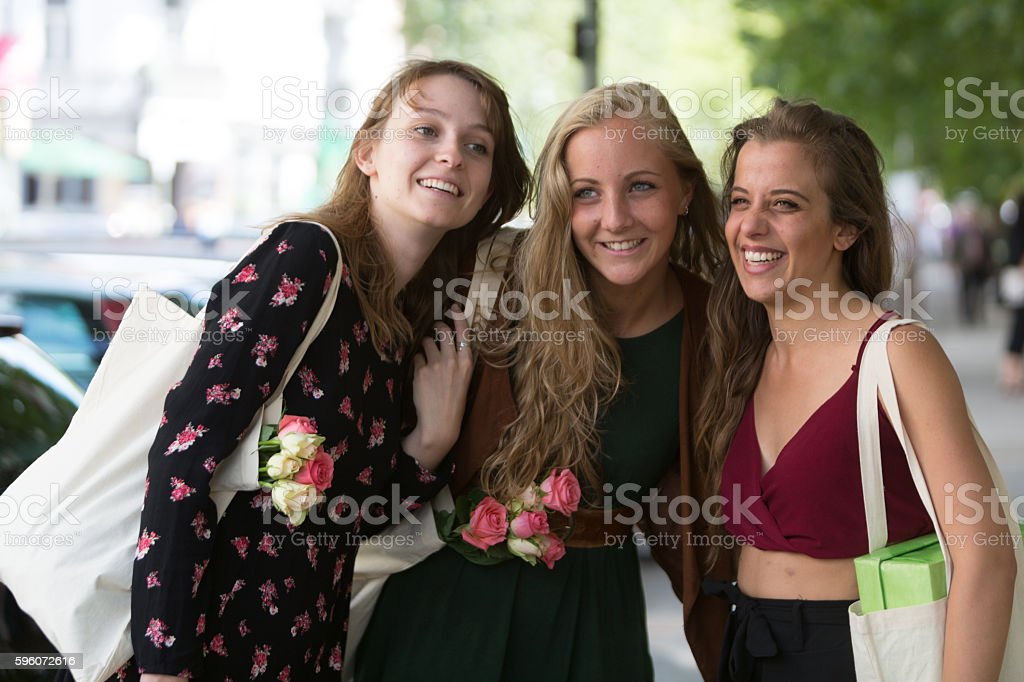 Portrait of three young and beautiful friends royalty-free stock photo