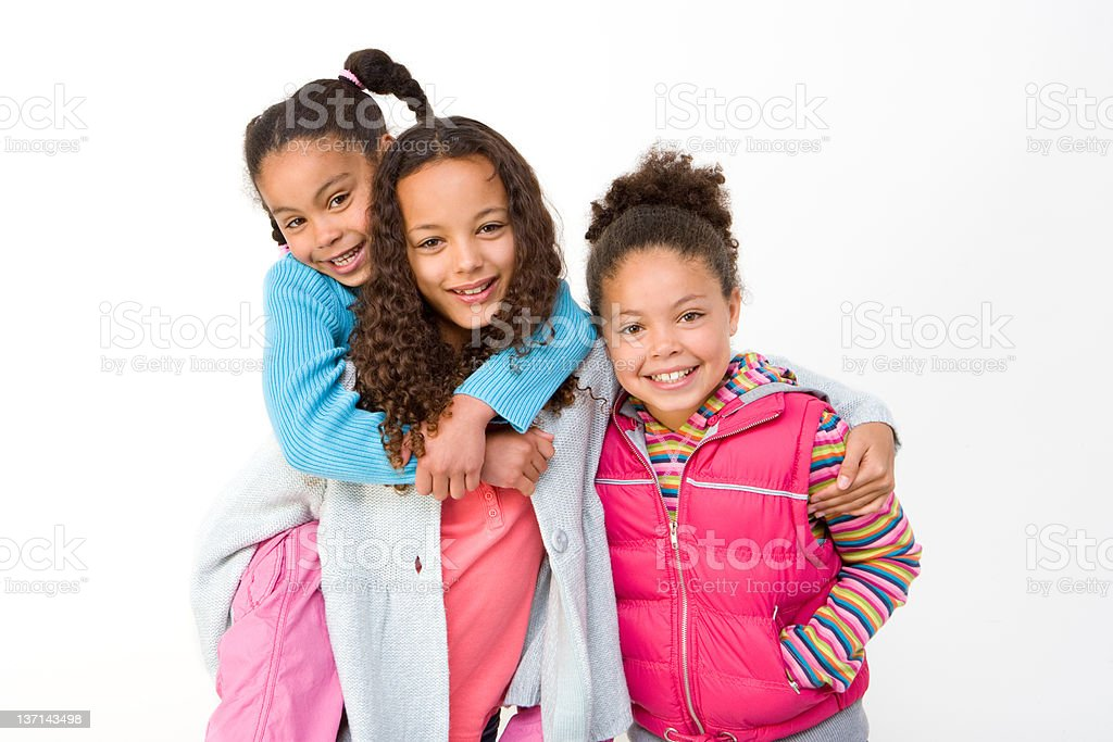 Portrait of Three Young Sisters stock photo