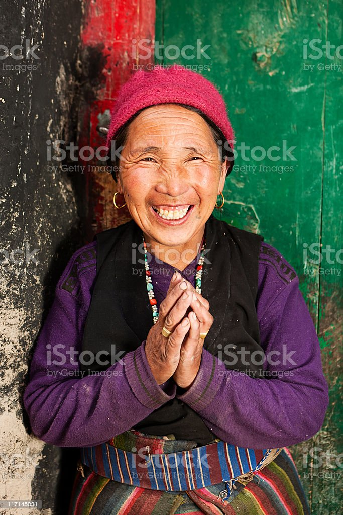 Portrait of Tibetan woman stock photo