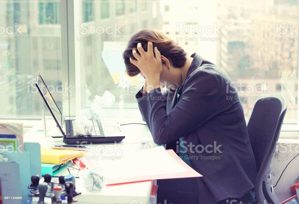 Portrait of tired young business woman royalty-free stock photo
