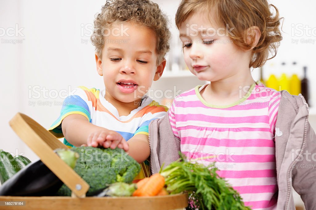 Portrait Of Toddlers Looking At Vegetables In A Basket royalty-free stock photo
