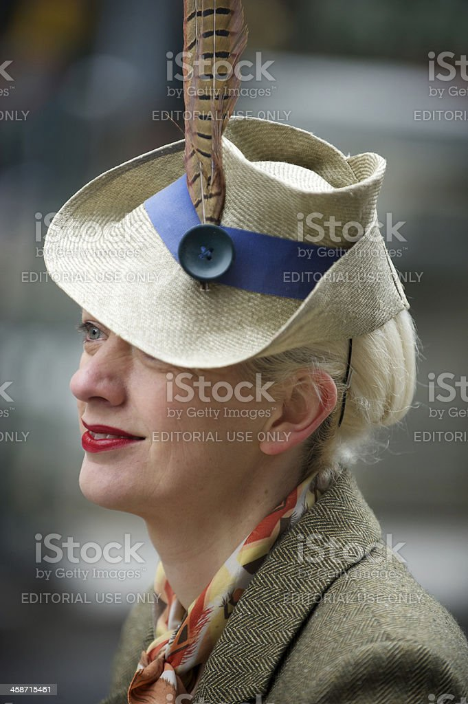 Portrait of Traditional British Woman in Tweed Jacket and Hat royalty-free stock photo