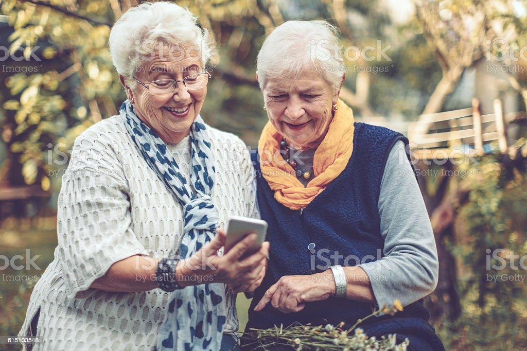 Portrait of two beautiful senior women stock photo