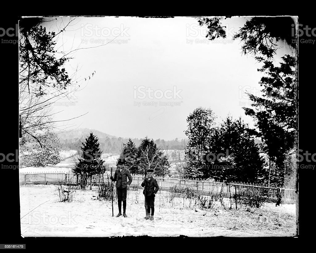 Portrait of Two Boys in the Snow, Circa 1890 stock photo