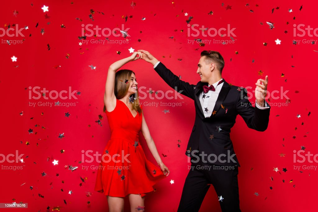 Portrait of two cool slim graceful adorable imposing attractive stock photo