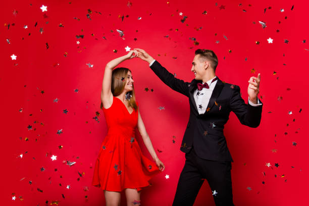 portrait of two cool slim graceful adorable imposing attractive - prom stock photos and pictures