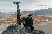 istock Portrait of two eagle hunters in Mongolia  on the background of river 1222202033