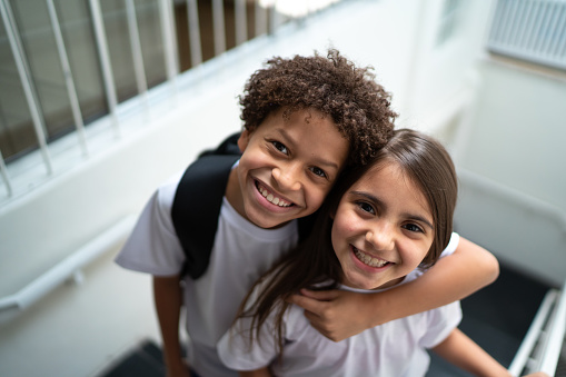 Portrait of two elementary students at school
