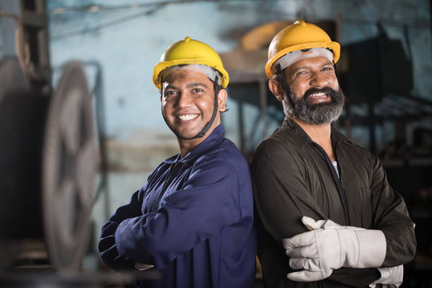 Portrait of two engineers at factory stock photo