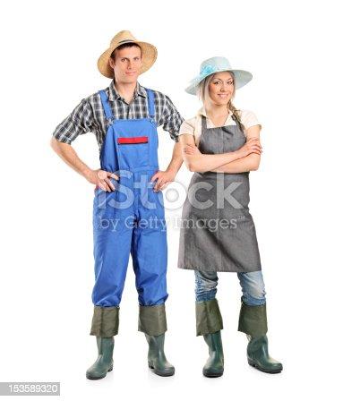 istock Portrait of two farmer posing 153589320