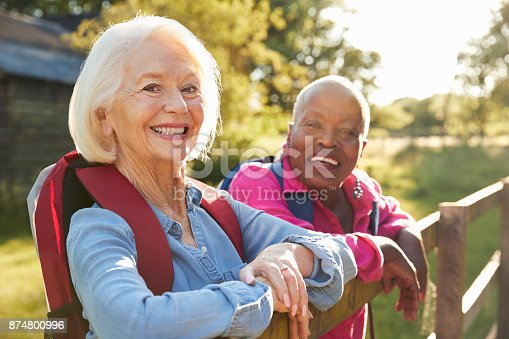istock Portrait Of Two Female Senior Friends Hiking In Countryside 874800996