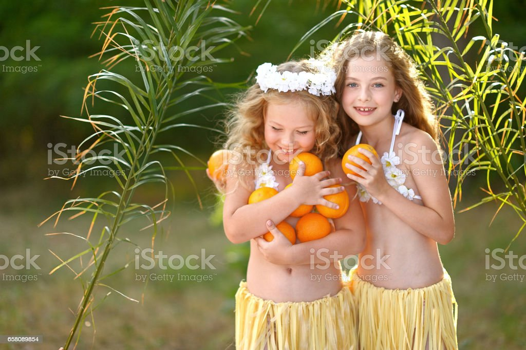portrait of two girl in tropical style royalty-free stock photo