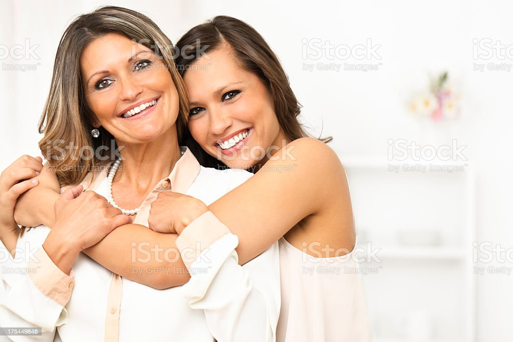 Portrait of two happy women stock photo