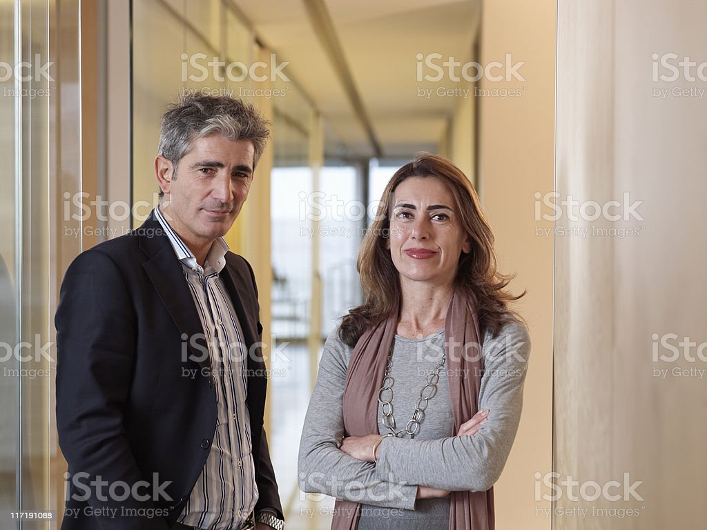 Portrait of two individuals stock photo