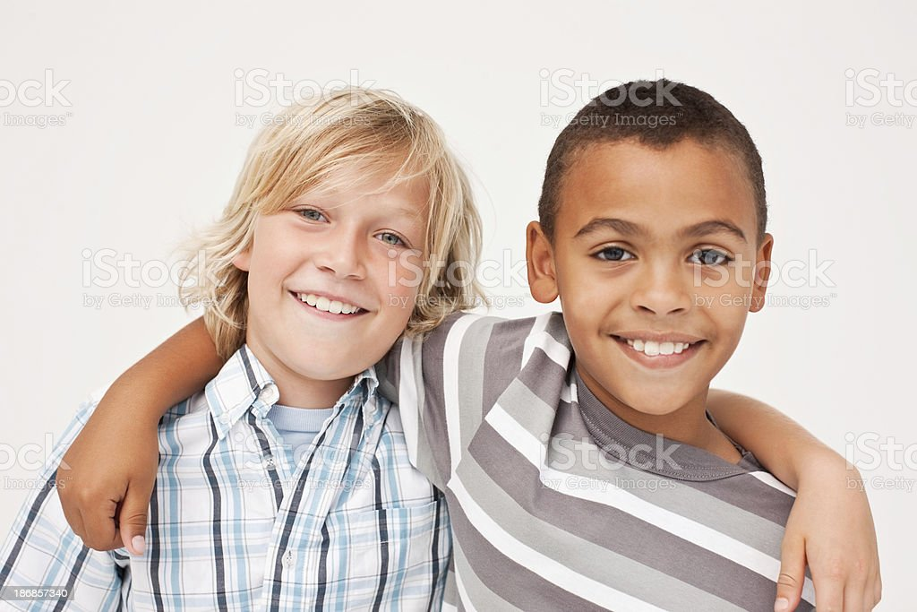 Portrait of two little boys royalty-free stock photo