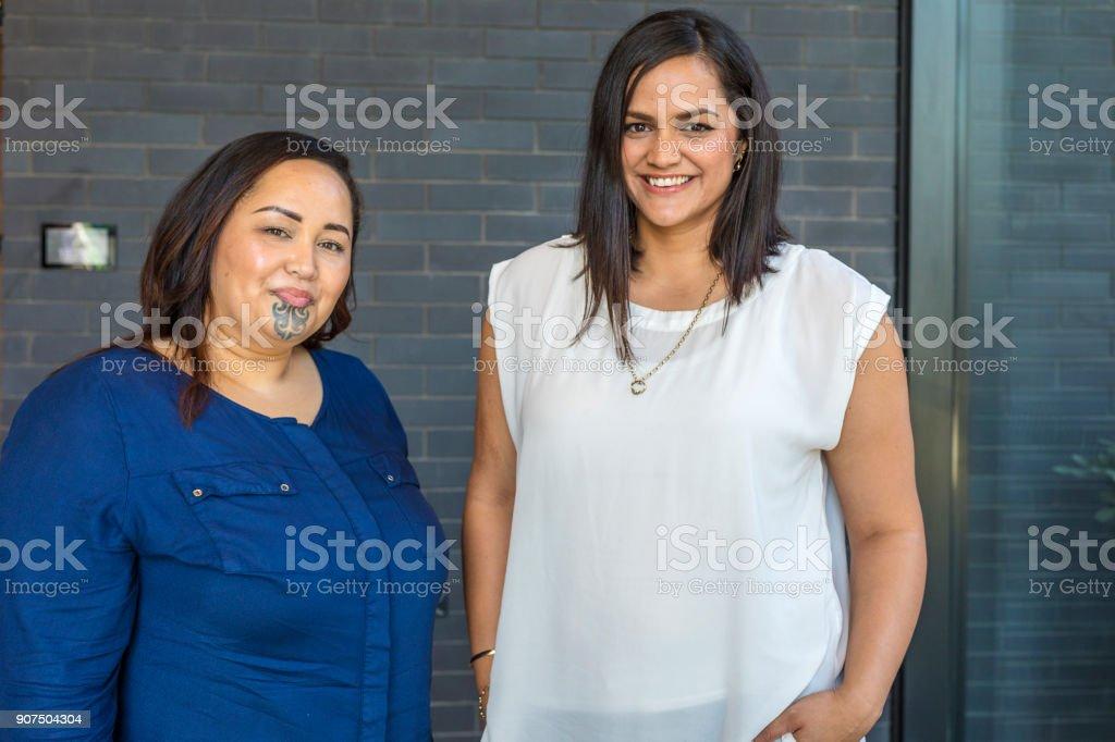 Portrait of Two Maori Women stock photo