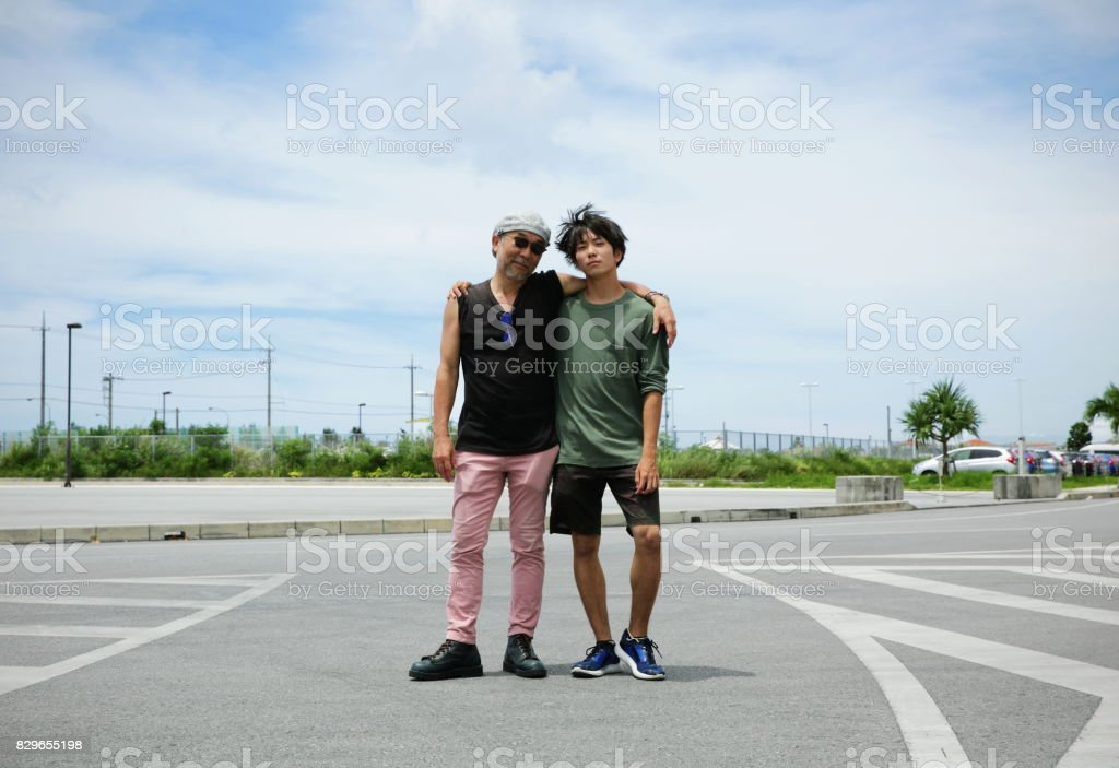 Portrait of two men,smiling stock photo