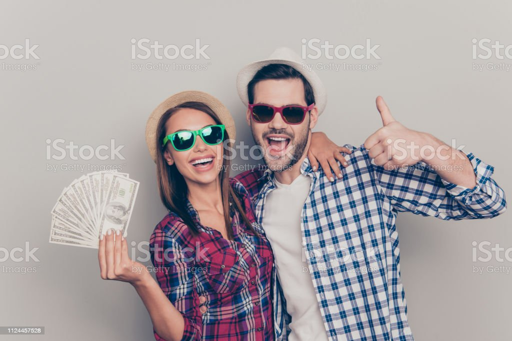 Portrait of two nice attractive cheerful people married spouses...