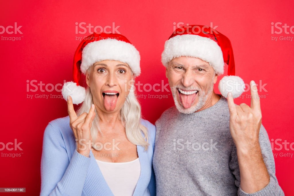 Portrait of two nice crazy cool excited people beautiful grey-haired...