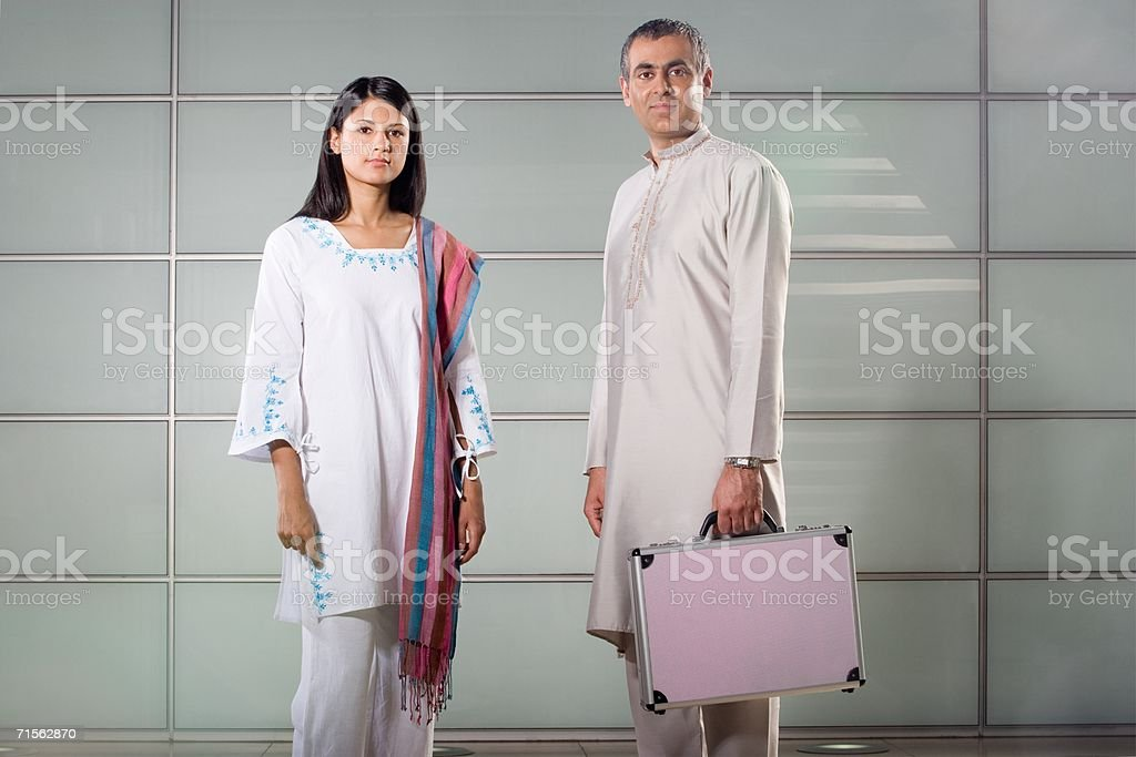 Portrait of two office workers stock photo