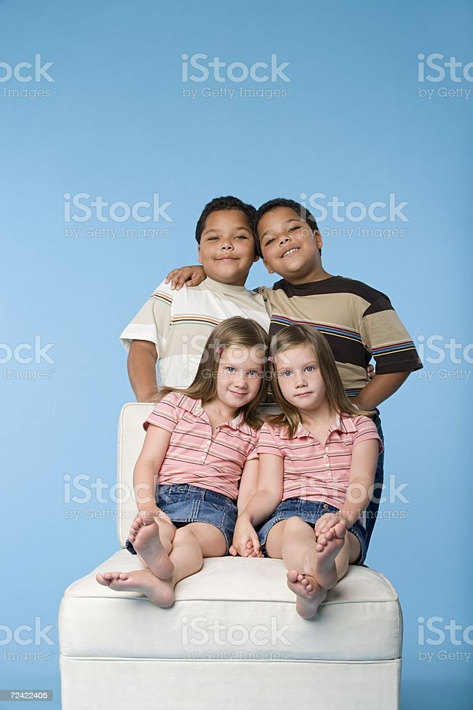 Portrait of two pairs of twins royalty-free stock photo