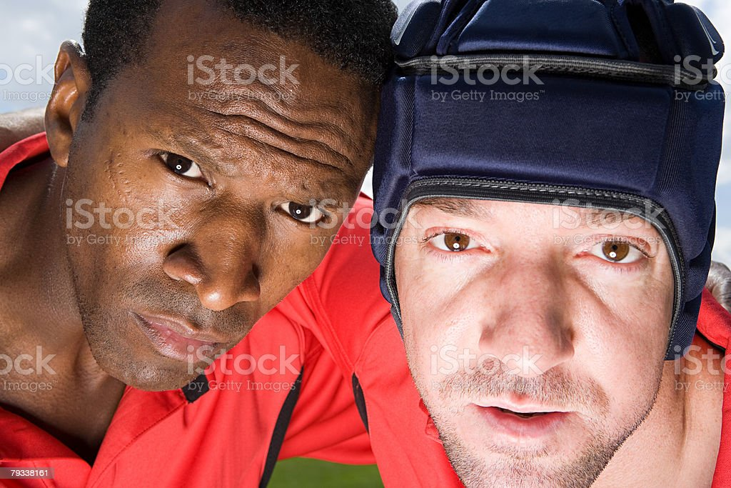 A portrait of two rugby players royalty-free stock photo