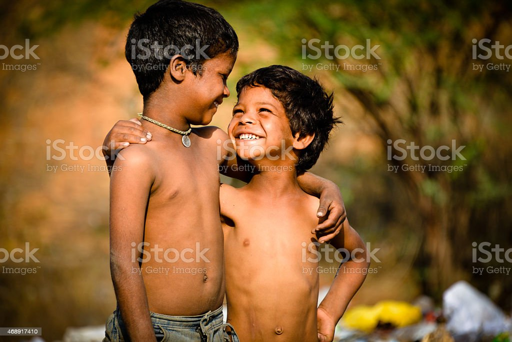 Portrait of Two  Rural Indian Asian Children stock photo